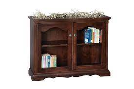 small bookcase with glass doors from