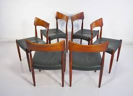 six danish dining chairs with rosewood frame by bernhard pedersen søn 1960s seats