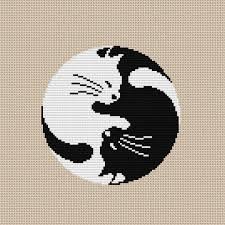 Cat Cross Stitch Patterns Cool Yin Yang Cat Cross Stitch Pattern PDF Instant Download Etsy