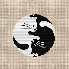 Cat Cross Stitch Patterns Cool Yin Yang Cat Cross Stitch Pattern PDF Instant Download Etsy