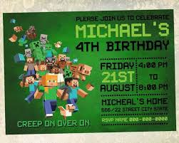 Minecraft Birthday Invitation Card Size 5x7 Inches By Room25days