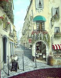 italian street scene by mural man