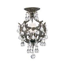crystorama legacy 3 light clear spectra crystal bronze ceiling mount