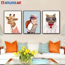 2018 nordic animal wall art prints poster hipster wall picture for cur animal wall art