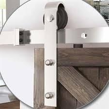78 75 in satin nickel steel top mount sliding barn door kit