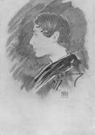charcoal sketch of a left facing young man with cropped black hair