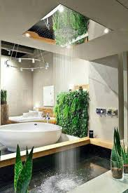 Bathroom:Stunning Outdoor Bathroom Ideas With High Green Plant Wall And  Oval Shape White Bathtub