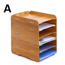 office file box. Wooden File Rack Holder Creative Desktop A4 Box 6 Multilayer Information Storage Frame Magazine Organizers Office M