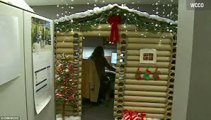 office cubicle door. Nice Snow Covered Roof And An Alpine Garland With Flashing Fairy Lights. A Minnesota Office Cubicle Door