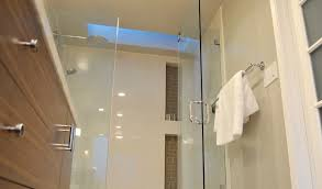 walk in shower lighting. Blue Led Ceiling Lighting With Chrome Towel Bar Also Swing Clear Glass Shower Door Vertical Niche In Modern Walk Photos