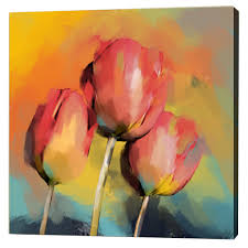 free painting three red tulips
