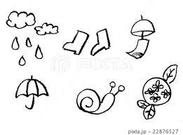 手書き チョークとクレヨンの素材 夏梅雨素材のイラスト素材 22876527