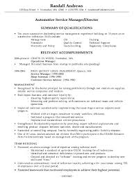 Combination Resume Example Automotive Service Manager p1