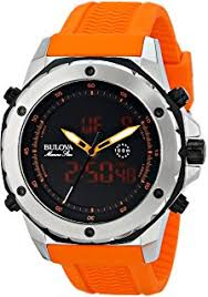 amazon com bulova men s 98b207 stainless steel automatic watch bulova men s 98c118 analog digital display ese quartz orange watch