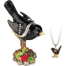 Hidden Treasures By Arora Design Uk Secrets Blackbird Bird Trinket Box With Hidden Pendant