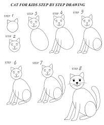 cat drawing step by step. Unique Cat Kids Can Use This Printable To Discover How Easy It Is Learn Draw  Their Own Cartoon Cat Or Kitten Inside Cat Drawing Step By R
