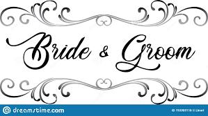 Black Scroll Design Clip Art Bride And Groom Scroll Wedding Clip Art Stock Illustration