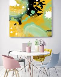 geometrical abstract art wall decor extra large abstract green yellow black canvas art print up to 48 by irena orlov