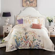 oil painting style duvet cover set egyptian cotton queen king size bedding sets grass flower erfly quilt cover offwhite comforters duvet covers