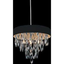 excel 6 light chrome chandelier with black shade