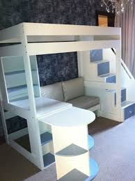tween loft bed with pullout desk sofa and multi functional stairs upsidaisycreations
