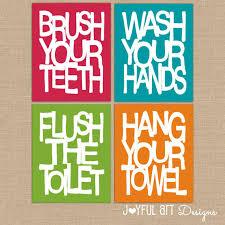 printable bathroom signs for kids. Modren Bathroom Bathroom Rules Wall Art Kids Printables  Brush Wash Flush Hang Prints In Printable Signs For
