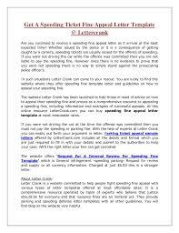 Appeal Letter Format Examples Sample Letter For Speeding Fine