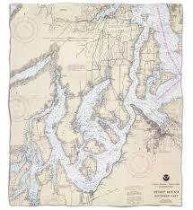 Wa Puget Sound Southern Wa Nautical Chart Blanket