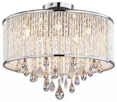 five light chrome clear crystals crystal drum flush ceiling light fresh home depot ceiling fans with lights