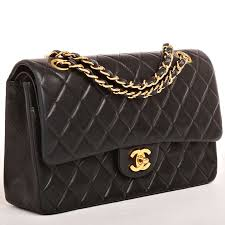 Chanel Black Quilted Lambskin Large Classic 2.55 Double Flap Bag ... & Chanel Black Quilted Lambskin Large Classic 2.55 Double Flap Bag Adamdwight.com