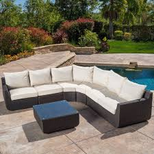 Liverman 7 Piece Outdoor Wicker Sectional Seating Group with