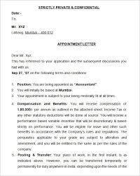 Samples Of Appointment Letter For An Employee 12 Sample Appointment Letters Sample Letters Word