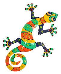 Solar Light Gecko Wall Art Hand Crafted Tropical Gecko Decor Haitian Metal Xl Stripes Color V