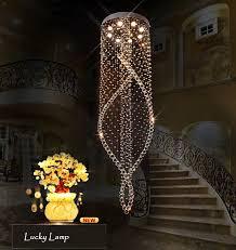 villa spiral led crystal ceiling lights large staircase indoor res flush mount restaurant lamps el lighting