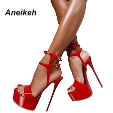 Aneikeh Extreme <b>High</b> Heel Sandals <b>Fashion Womens</b> Shoes Peep ...