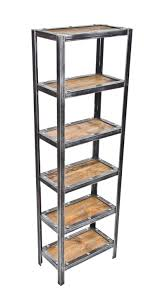 well built repurposed american vintage industrial freestanding shelving unit or rack complete with recycled barn wood