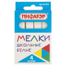 Купить Мел белый <b>ПИФАГОР</b>, набор 4 шт., квадратный, 221978 ...