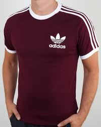 adidas t shirt. adidas originals 3 stripes t shirt maroon m