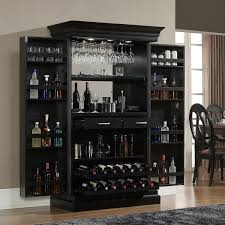 Furniture Modern Black Mirrored Home Bar Cabinet With Wine Glass - Home bar cabinets design