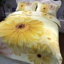 light yellow fl printed daisy bedding set queen size cotton duvet cover pillowcase bed sheets home