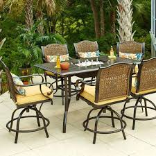 brown patio table bar height bistro set outdoor counter height outdoor table and stools bar height