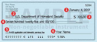 paying fees uscis important note write the date of the check in the u s style of month day year example 4
