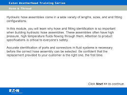 Weatherhead Hydraulic Fittings Chart Eaton Weatherhead Training Series Ppt Video Online Download