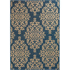 8 x 11 large cobalt blue and beige indoor outdoor rug trisha yearwood gather rc willey furniture