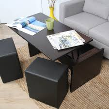 Image Of: Black Coffee Table With Ottomans Underneath Nice Look