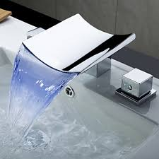 Color Changing LED Waterfall Widespread Bathroom Sink Faucet