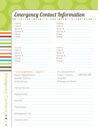 emergency contact template organizing planner the harmonized house project worldlabel blog