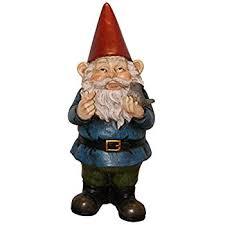 garden gnome holding bird