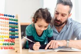 how to help your child word math problems little pre scholar girl and father learning calculating colored balls