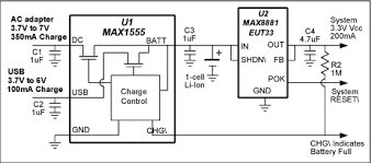 charging batteries using usb power reference schematic maxim simple charging at 100ma from usb and 350ma from an ac adapter